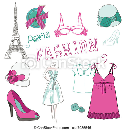 Fashion Scrap Elements - for your design and scrapbook - csp7985546