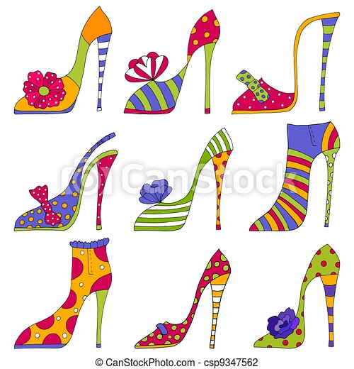 Fashion shoes. Decorative elements - csp9347562