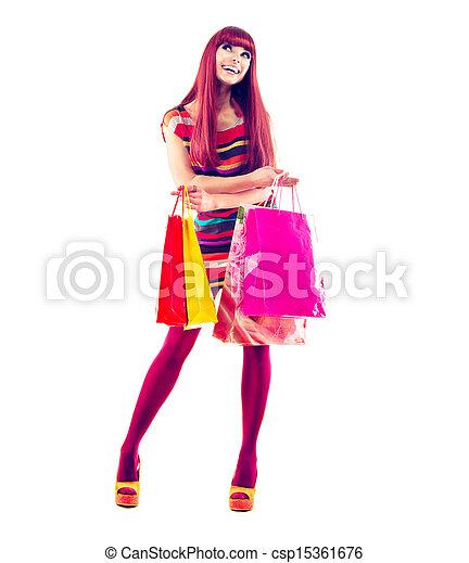 Fashion Shopping Girl full length Portrait  - csp15361676