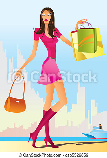 fashion shopping girls  - csp5529859