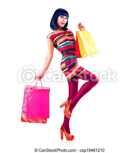 Fashion Shopping Model Girl Full Length Portrait - csp19461210