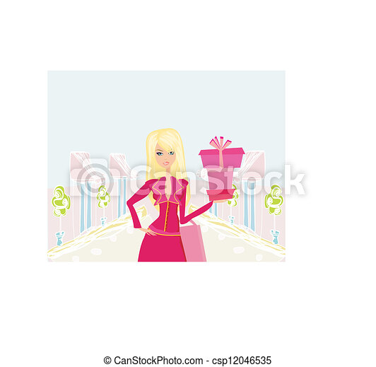 fashion shopping woman with shopping bags and gift box - csp12046535
