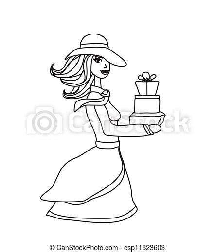 fashion shopping woman with shopping bags and gift box - csp11823603
