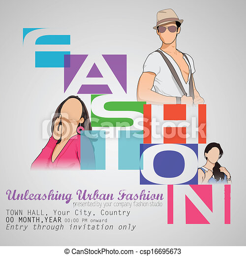 Easy to edit vector illustration of poster design for fashion show.