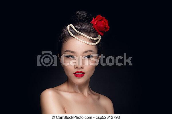 Fashion Studio Shot Of Beautiful Young Asian Woman With Retro