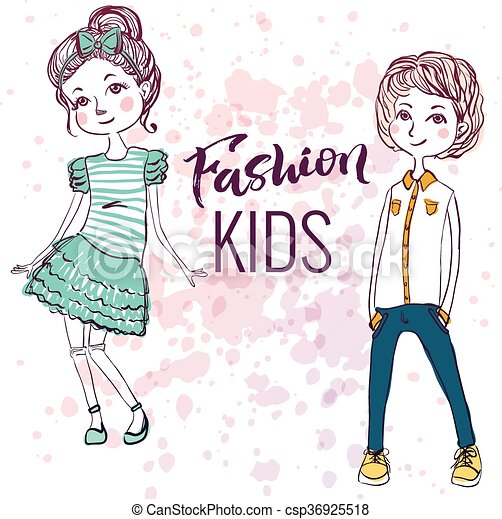 fashion style kids illustration trendy sketch of boy and vector rh canstockphoto com fashion clipart illustrations fashion clipart free