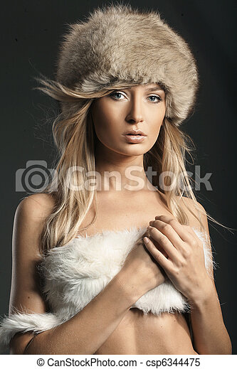 Fashion style photo of a beautiful blonde - csp6344475