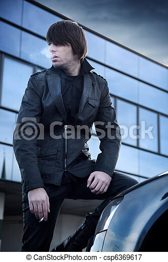 Fashion style photo of a handsome guy - csp6369617