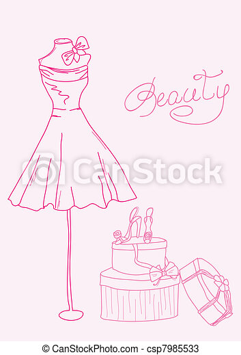 Fashion stylized doodles - lady's dress and shoes - csp7985533