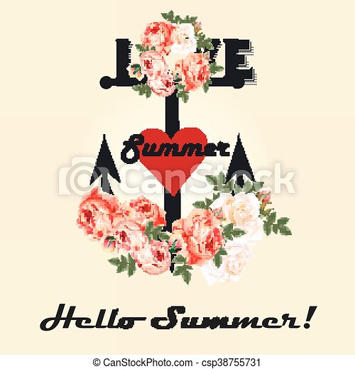 Fashion Summer Design In Retro Style With Anchor Flowers And Red Heart Ideal For T