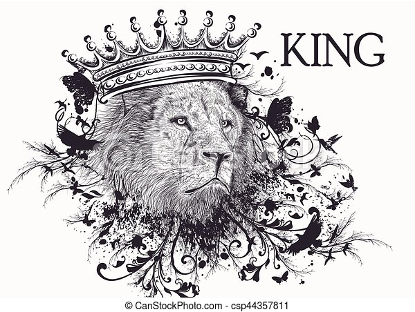 Fashion T Shirt Print With Lion Head In Crown And Swirls Kingeps Vector