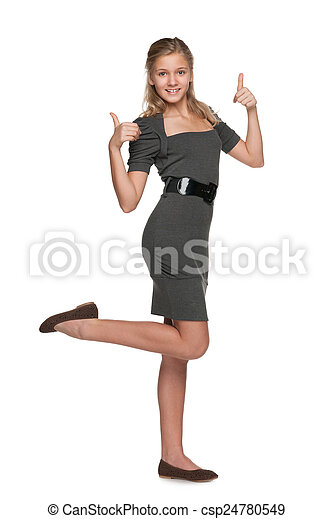 Fashion teen girl with her thumbs up - csp24780549