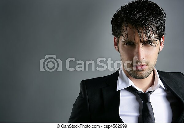 Fashion trendy suit young man hairstyle portrait - csp4582999