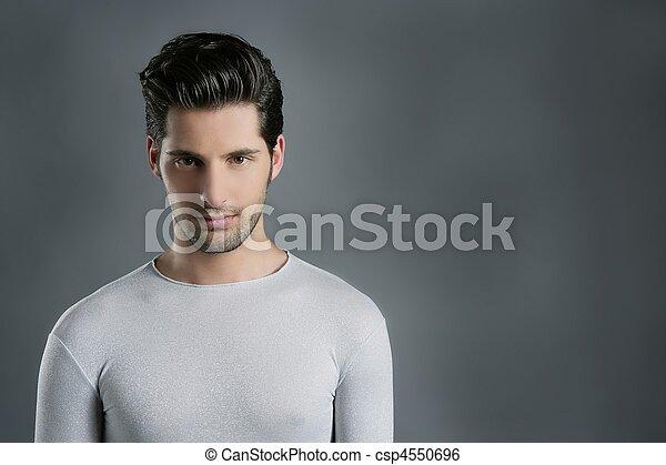 Fashion trendy youn man silver futuristic portrait - csp4550696