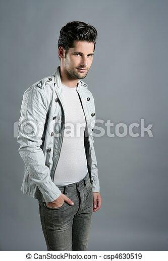 Fashion trendy youn man silver futuristic portrait - csp4630519
