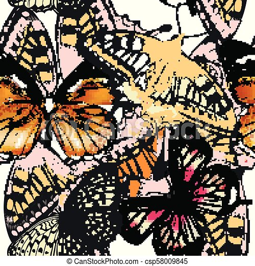 Fashion vector pattern with butterflies - csp58009845