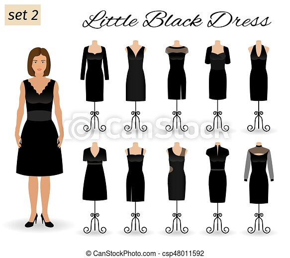 Fashion Woman Character In Little Black Dress Set Of Evening