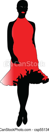 fashion woman in red dress - csp5513427