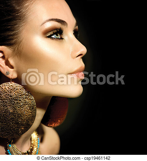 Fashion Woman Profile Portrait isolated on black - csp19461142