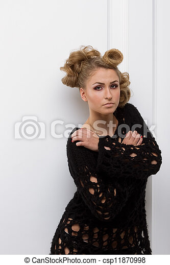 fashion woman with beautiful makeup - csp11870998