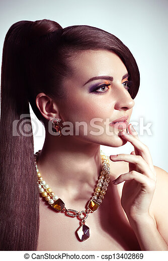 Fashion woman with jewelry - csp13402869