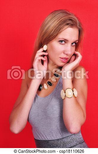 fashion woman with jewelry - csp18110626