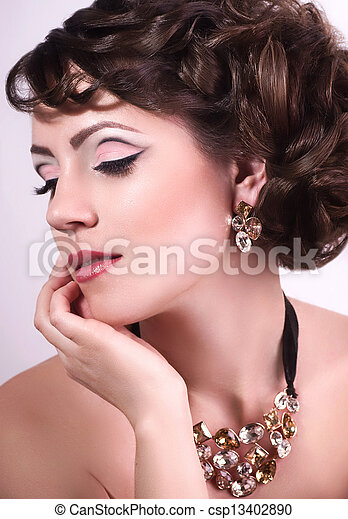 Fashion woman with jewelry - csp13402890
