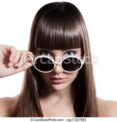 Fashion Woman With Sunglasses. Isolated - csp17227883