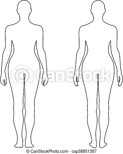 Fashion womans outlined template figure silhouette front back fashion womans outlined template csp38851387 maxwellsz