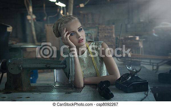 Fashionable blonde posing - csp8092267