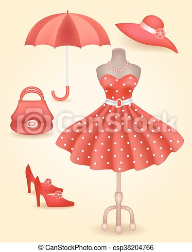Fashionable dress in retro style and accessories - csp38204766