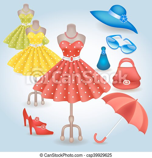Fashionable dress in retro style and accessories - csp39929625