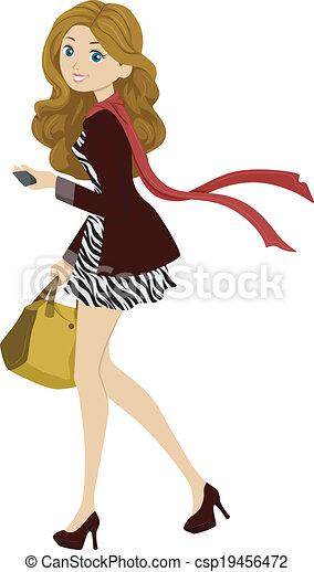 Fashionable Female Student - csp19456472