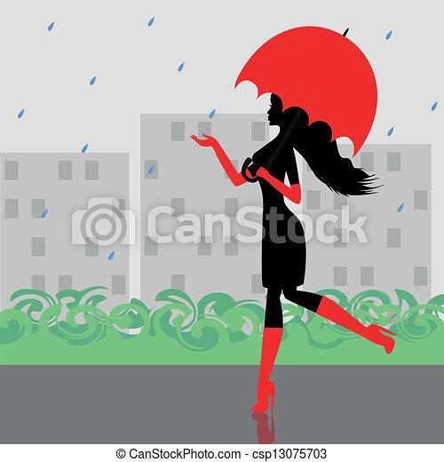 Fashionable girl with an umbrella - csp13075703