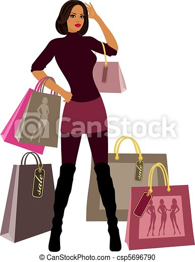 Fashionable girl with bags - csp5696790