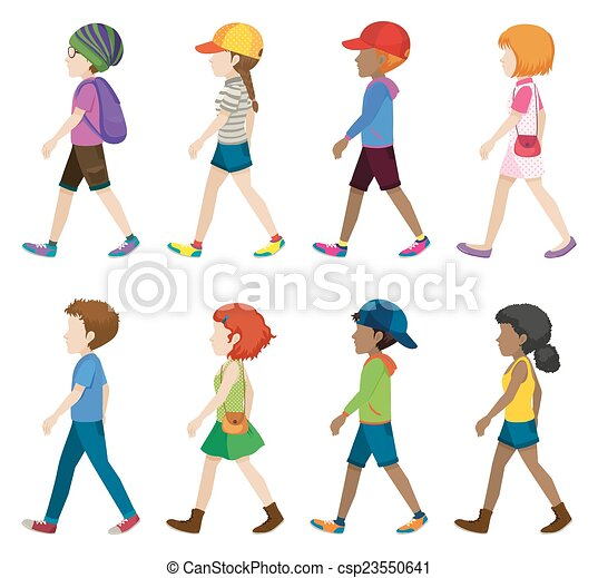 Fashionable teenagers walking - csp23550641