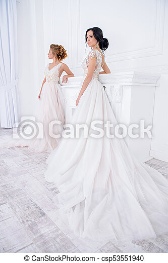 Fashionable Wedding Dresses Two Exquisite Beautiful Brides In Elegant Wedding Dresses Stand In White Luxurious Apartments,Wedding Dress Makers Sydney