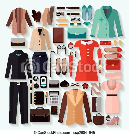 fashionable women clothes icons flat set - csp26041945