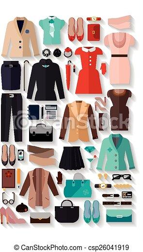 fashionable women clothes icons flat set - csp26041919