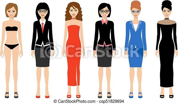 Fashionable women on a white background - csp51829694