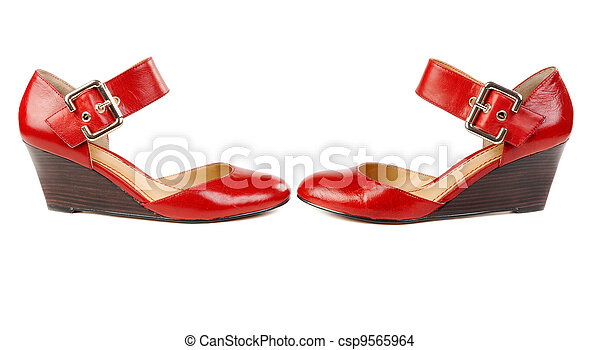 Fashionable women's red shoes - csp9565964