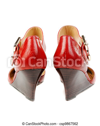 Fashionable women's red shoes - csp9867562
