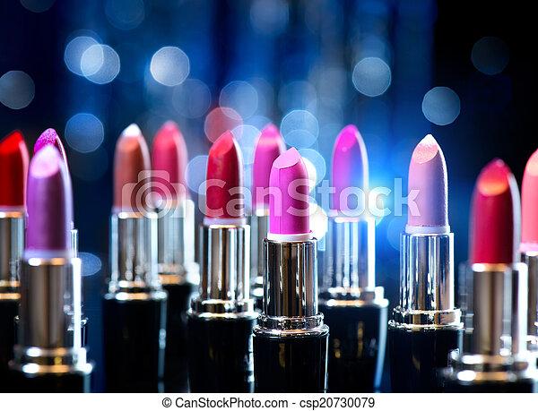 fason, piękno, barwny, makijaż, lipsticks., profesjonalny - csp20730079