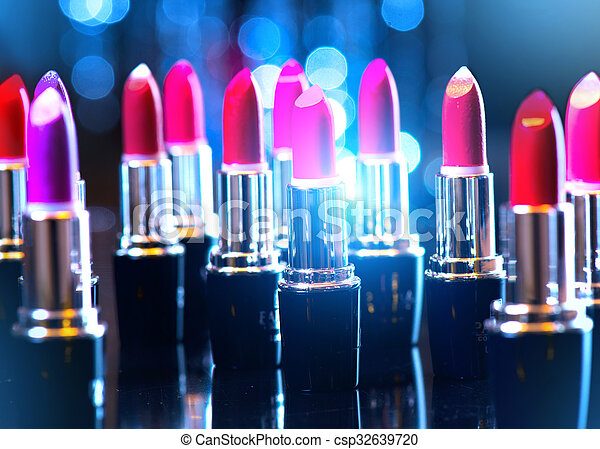 fason, piękno, barwny, makijaż, lipsticks., profesjonalny - csp32639720