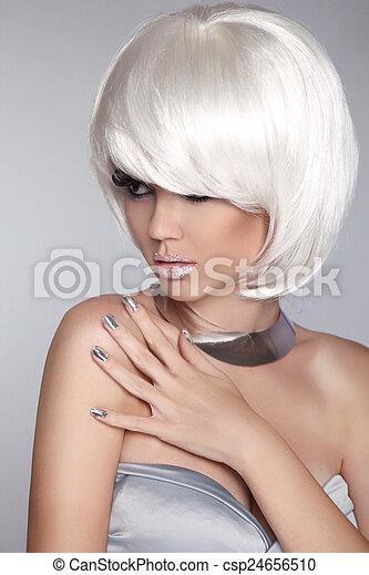 fason, piękno, girl., krótki, iso, blond, hair., portret, woman., biały - csp24656510