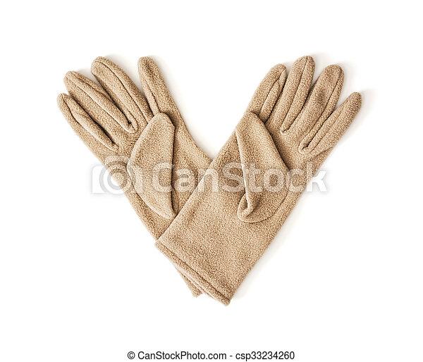 fason, piękno, odizolowany, damski, tekstylny, rękawiczki - csp33234260