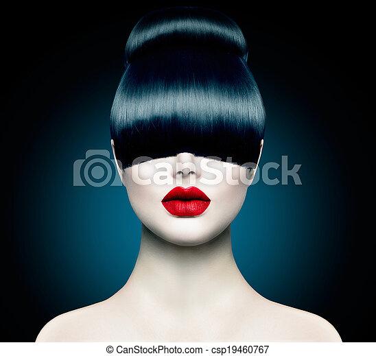 fason, skraj, wysoki, modny, portret, wzór, dziewczyna - csp19460767