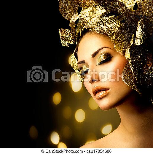fason, złoty, makeup., blask, charakteryzacja, święto - csp17054606