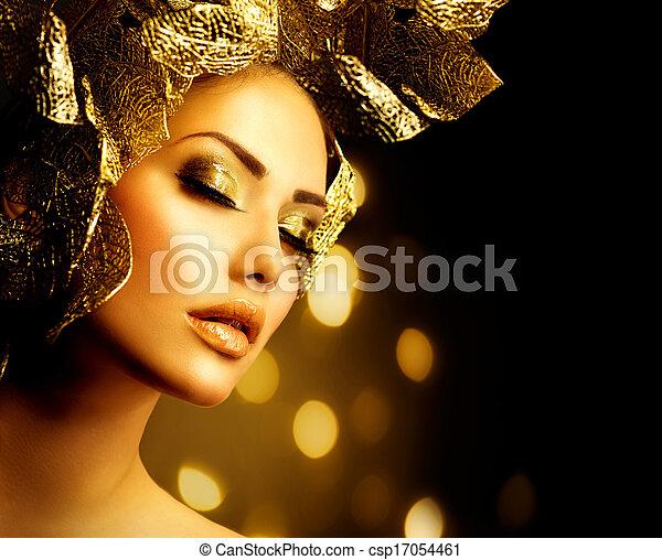 fason, złoty, makeup., blask, charakteryzacja, święto - csp17054461