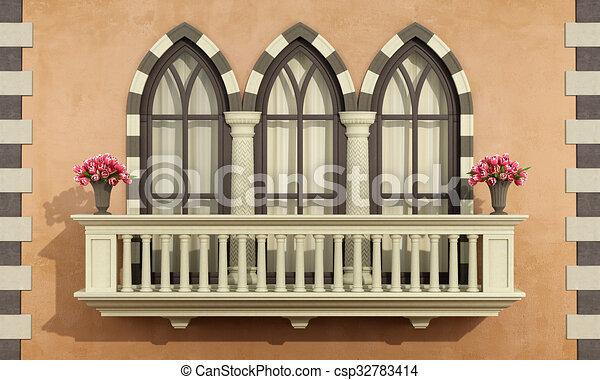 Fassade Balkon Brustung Altes Klassisch Altes Klassisch